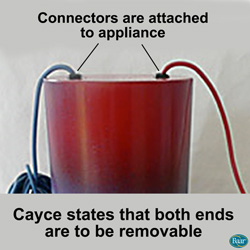Edgar Cayce states that both ends are to be removable. Radial Applainces' connectors are attached.