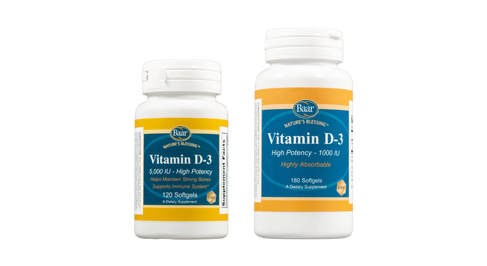 Nature's Blessing Vitamin D-3 Softgels Available from Baar Products at baar.com